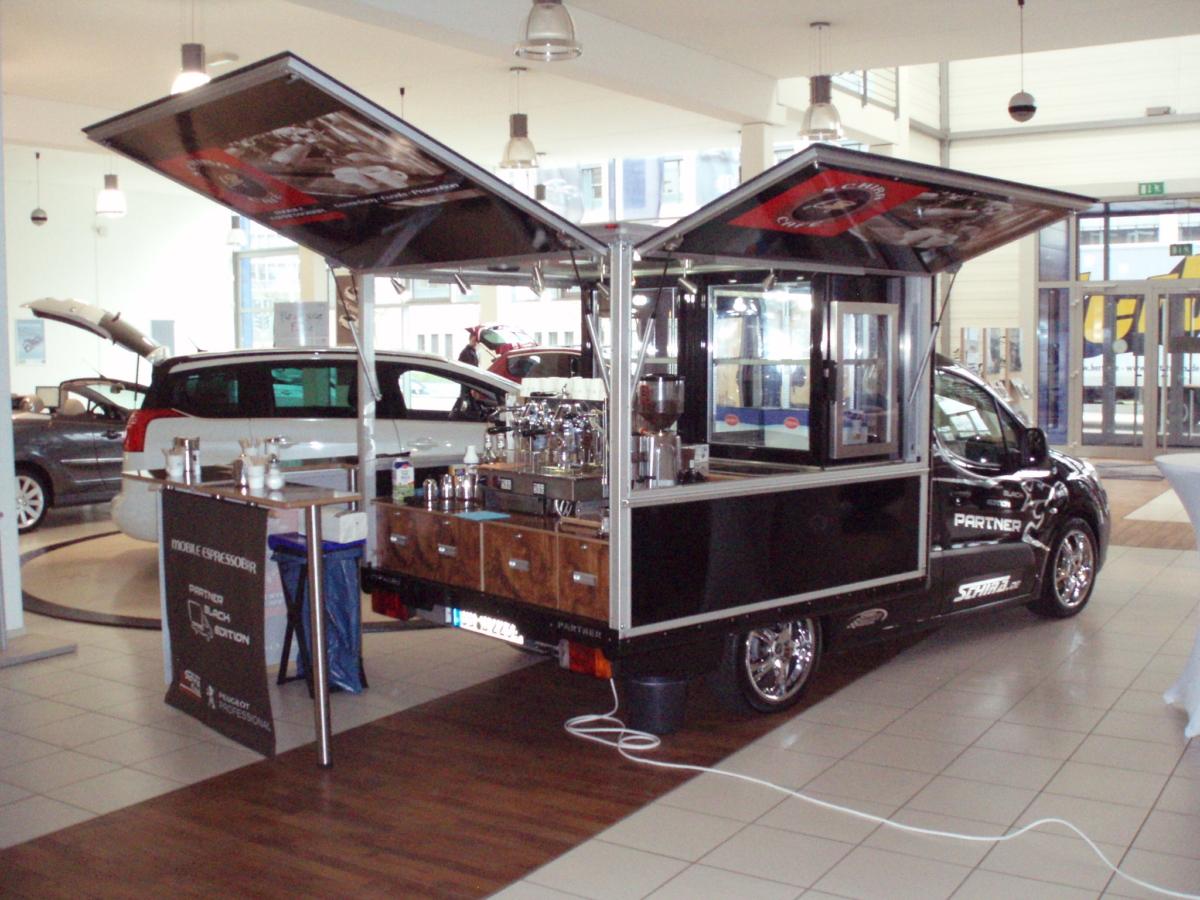 Peugeot Partner Kaffeemobil , das mobile Kaffee für den felxibelen Barista