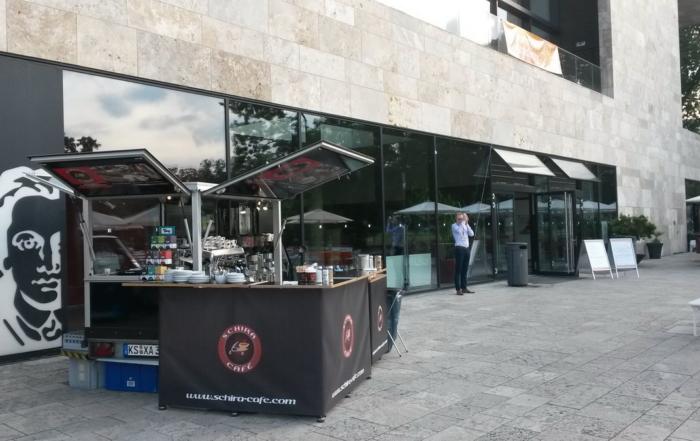 Mit dem Ape Kaffee Mobil bei McKinsey in Frankfurt