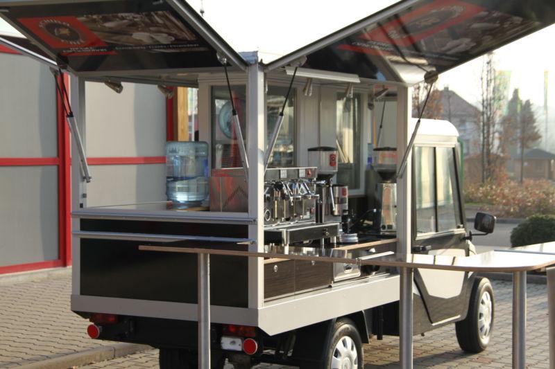 Melex Black Edition das Elektromobil auf der Basis des Melex N-Car 381 , Kaffeemobil und Espressomobil