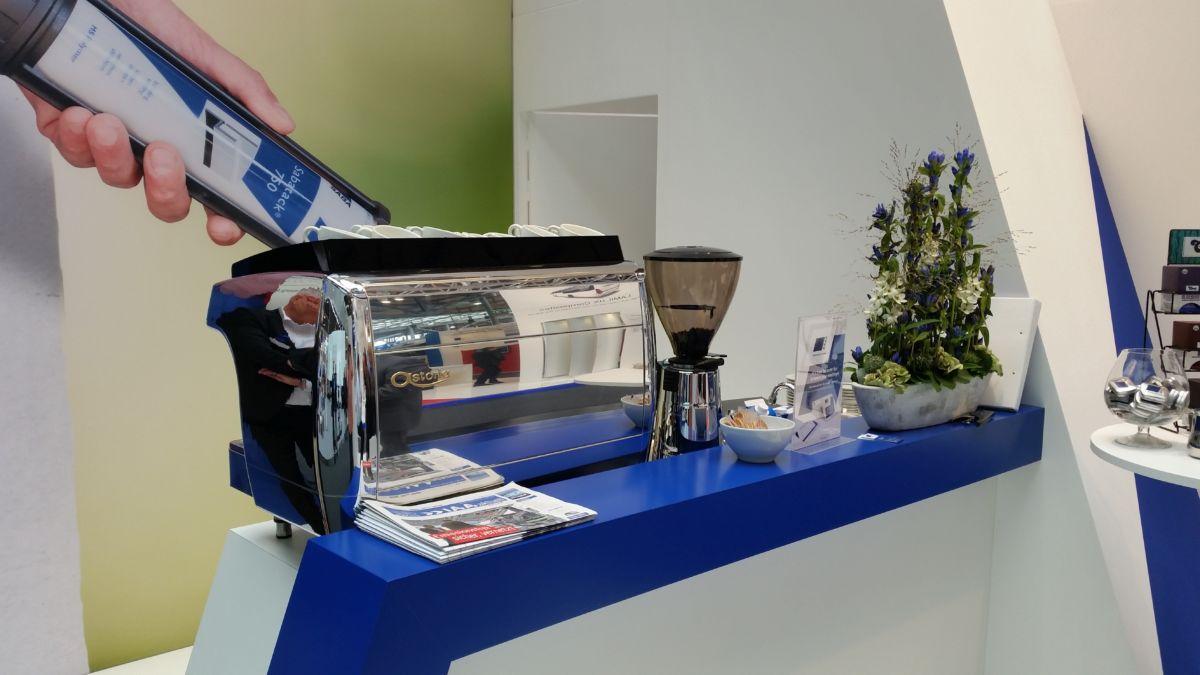 Mobile Espressostation für Saba auf der Messe im Einsatz