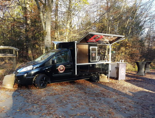 Mit dem Espressomobil im Einsatz für eine Beerdingung im Friedwald Reihardswald