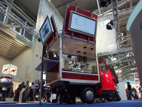 Die Intermot in München mit der Ape750 Café , das Espressomobil.