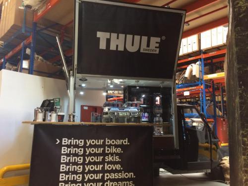 Das Thule Barista Espressomobil bei der Firma Hartje , das mobile Kaffee